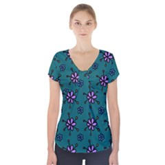 Blue Purple Floral Flower Sunflower Frame Short Sleeve Front Detail Top by Alisyart