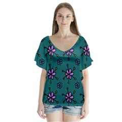 Blue Purple Floral Flower Sunflower Frame Flutter Sleeve Top