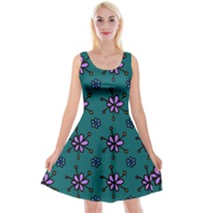 Blue Purple Floral Flower Sunflower Frame Reversible Velvet Sleeveless Dress