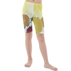 Abstract Flowers Sunflower Gold Red Brown Green Floral Leaf Frame Kids  Mid Length Swim Shorts by Alisyart