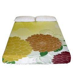 Abstract Flowers Sunflower Gold Red Brown Green Floral Leaf Frame Fitted Sheet (king Size) by Alisyart