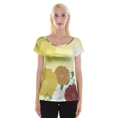Abstract Flowers Sunflower Gold Red Brown Green Floral Leaf Frame Women s Cap Sleeve Top by Alisyart