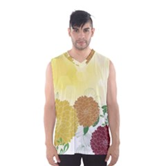 Abstract Flowers Sunflower Gold Red Brown Green Floral Leaf Frame Men s Basketball Tank Top