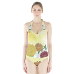 Abstract Flowers Sunflower Gold Red Brown Green Floral Leaf Frame Halter Swimsuit by Alisyart