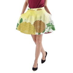Abstract Flowers Sunflower Gold Red Brown Green Floral Leaf Frame A-line Pocket Skirt by Alisyart