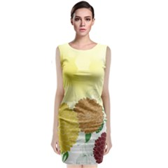 Abstract Flowers Sunflower Gold Red Brown Green Floral Leaf Frame Classic Sleeveless Midi Dress