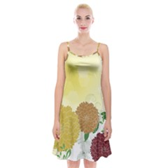Abstract Flowers Sunflower Gold Red Brown Green Floral Leaf Frame Spaghetti Strap Velvet Dress