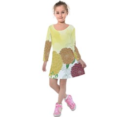 Abstract Flowers Sunflower Gold Red Brown Green Floral Leaf Frame Kids  Long Sleeve Velvet Dress by Alisyart