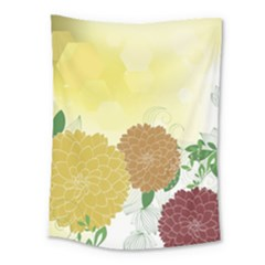Abstract Flowers Sunflower Gold Red Brown Green Floral Leaf Frame Medium Tapestry by Alisyart