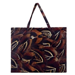 Feathers Bird Black Zipper Large Tote Bag