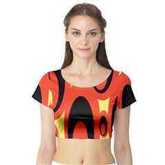 Circle Eye Black Red Yellow Short Sleeve Crop Top (tight Fit) by Alisyart