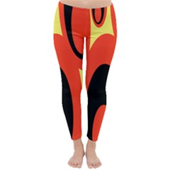 Circle Eye Black Red Yellow Classic Winter Leggings