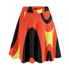 Circle Eye Black Red Yellow High Waist Skirt
