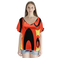 Circle Eye Black Red Yellow Flutter Sleeve Top