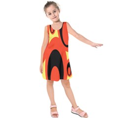 Circle Eye Black Red Yellow Kids  Sleeveless Dress by Alisyart