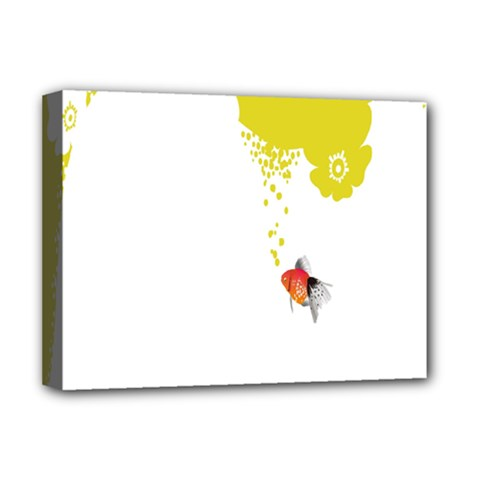 Fish Underwater Yellow White Deluxe Canvas 16  X 12