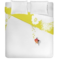 Fish Underwater Yellow White Duvet Cover Double Side (california King Size) by Simbadda