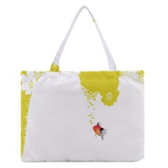 Fish Underwater Yellow White Medium Zipper Tote Bag by Simbadda