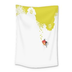 Fish Underwater Yellow White Small Tapestry by Simbadda