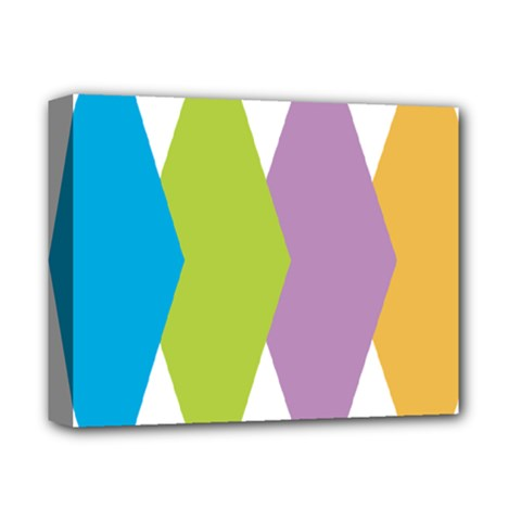 Chevron Wave Triangle Plaid Blue Green Purple Orange Rainbow Deluxe Canvas 14  X 11  by Alisyart