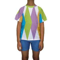 Chevron Wave Triangle Plaid Blue Green Purple Orange Rainbow Kids  Short Sleeve Swimwear