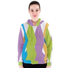 Chevron Wave Triangle Plaid Blue Green Purple Orange Rainbow Women s Zipper Hoodie