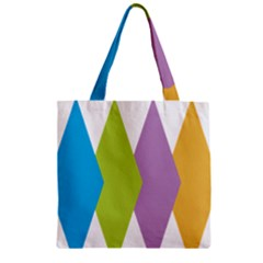 Chevron Wave Triangle Plaid Blue Green Purple Orange Rainbow Zipper Grocery Tote Bag by Alisyart