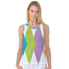Chevron Wave Triangle Plaid Blue Green Purple Orange Rainbow Women s Basketball Tank Top by Alisyart