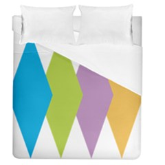 Chevron Wave Triangle Plaid Blue Green Purple Orange Rainbow Duvet Cover (queen Size) by Alisyart