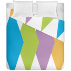 Chevron Wave Triangle Plaid Blue Green Purple Orange Rainbow Duvet Cover Double Side (california King Size) by Alisyart