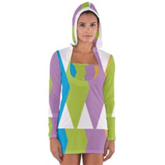Chevron Wave Triangle Plaid Blue Green Purple Orange Rainbow Women s Long Sleeve Hooded T Shirt