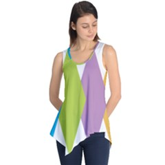 Chevron Wave Triangle Plaid Blue Green Purple Orange Rainbow Sleeveless Tunic