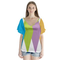 Chevron Wave Triangle Plaid Blue Green Purple Orange Rainbow Flutter Sleeve Top