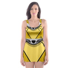 Cheese Mose Yellow Grey Skater Dress Swimsuit