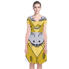 Cheese Mose Yellow Grey Short Sleeve Front Wrap Dress