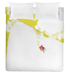 Fish Underwater Yellow White Duvet Cover Double Side (queen Size)