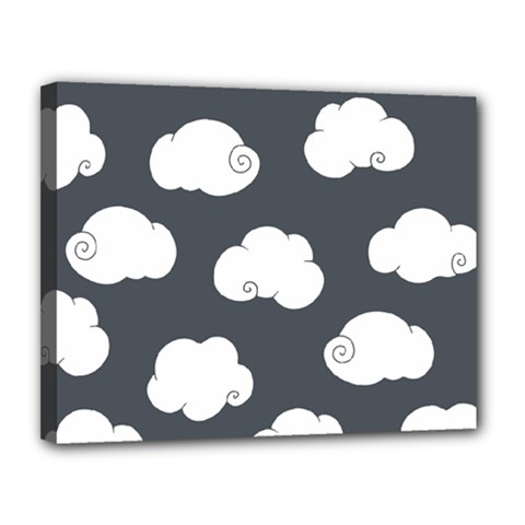 Cloud White Gray Sky Canvas 14  X 11