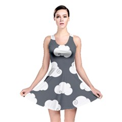 Cloud White Gray Sky Reversible Skater Dress. Cloud White Gray Sky Reversible  Skater Dress. Dark Green Insect Pattern ... 0eebb0530