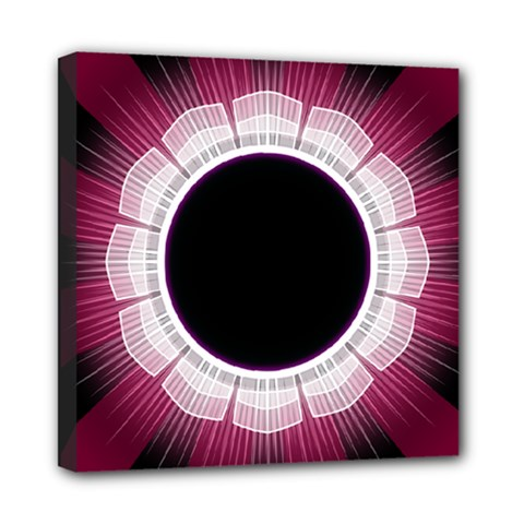 Circle Border Hole Black Red White Space Mini Canvas 8  X 8  by Alisyart