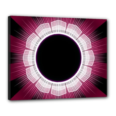 Circle Border Hole Black Red White Space Canvas 20  X 16  by Alisyart