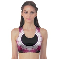Circle Border Hole Black Red White Space Sports Bra by Alisyart