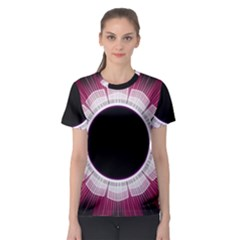 Circle Border Hole Black Red White Space Women s Sport Mesh Tee