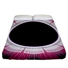 Circle Border Hole Black Red White Space Fitted Sheet (king Size)