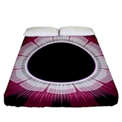 Circle Border Hole Black Red White Space Fitted Sheet (california King Size) by Alisyart