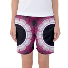 Circle Border Hole Black Red White Space Women s Basketball Shorts by Alisyart