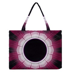 Circle Border Hole Black Red White Space Medium Zipper Tote Bag by Alisyart