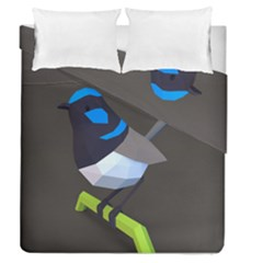 Animals Bird Green Ngray Black White Blue Duvet Cover Double Side (queen Size) by Alisyart
