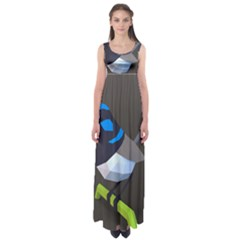 Animals Bird Green Ngray Black White Blue Empire Waist Maxi Dress by Alisyart