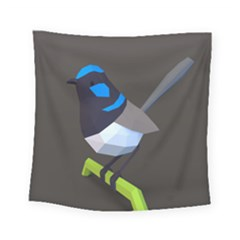 Animals Bird Green Ngray Black White Blue Square Tapestry (small)