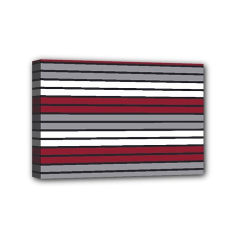 Fabric Line Red Grey White Wave Mini Canvas 6  X 4  by Alisyart